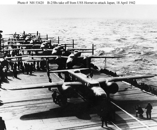 The Doolittle Raiders ready for takeoff (photo from U.S. Navy)