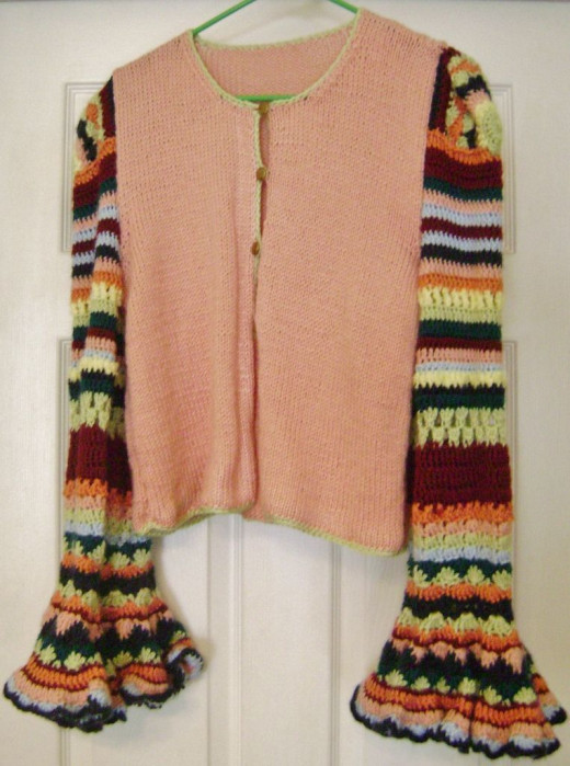 Knit body, crocheted sleeves