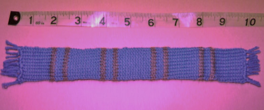 Bookmark made with tiny amounts of baby wool