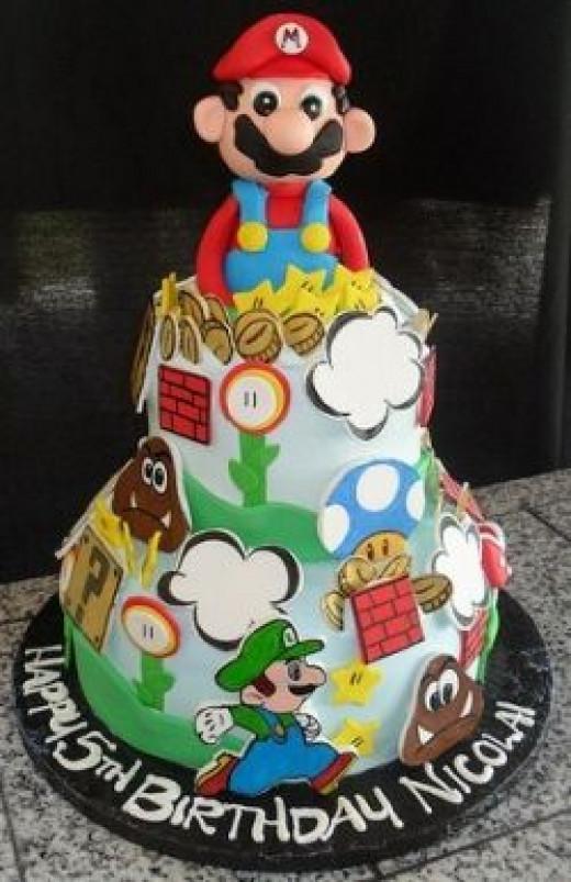 Tiered Mario Birthday Cake