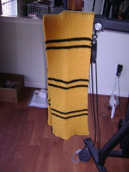 Hufflepuff scarf knit from Charmed Knits pattern in 1x1 ribbing