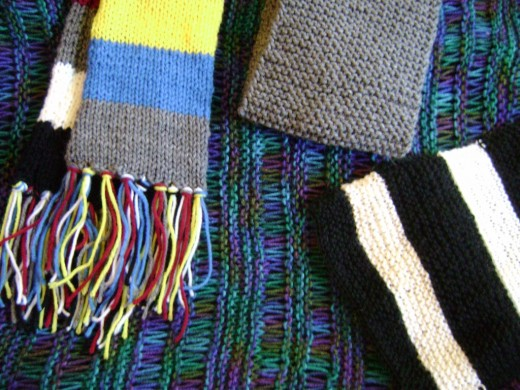 All four scarves from my pattern book Knitted Scarves for Everyone (FiberFrau Book 1)