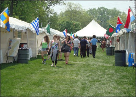 Each culture/country's booth flew its flag.