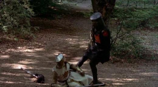 Black Knight kicking Arthur