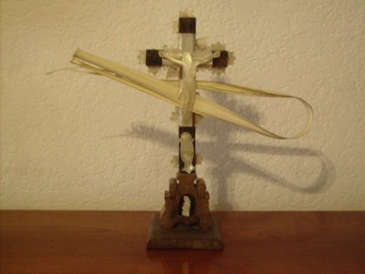 A Crucifix with Palm Leaves for Palm sunday
