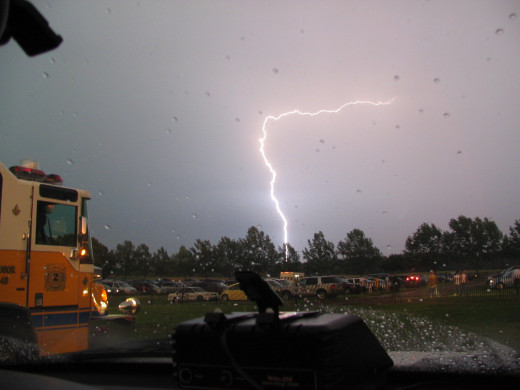 Responding to the local fireworks show when the area was hit by a nasty pop up lightning storm.