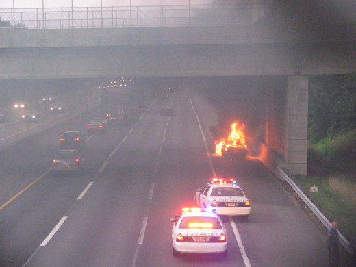 Car fire on the NJ Turnpike, fully involved on arrival.