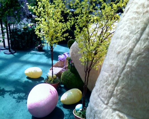 Artificial Giant Easter Eggs in an artificial Spring Garden