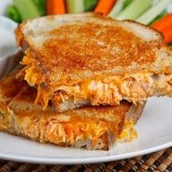 Buffalo Chicken Grilled Cheese  thank you closetcooking.com