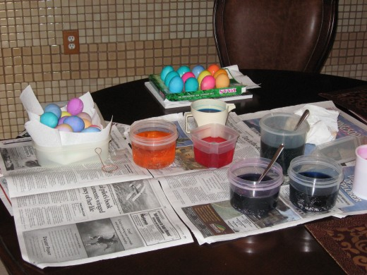 Egg dying in progress