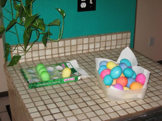 Easter Eggs on the kitchen counter and ready for the Easter Bunny to come and hide them for the children.