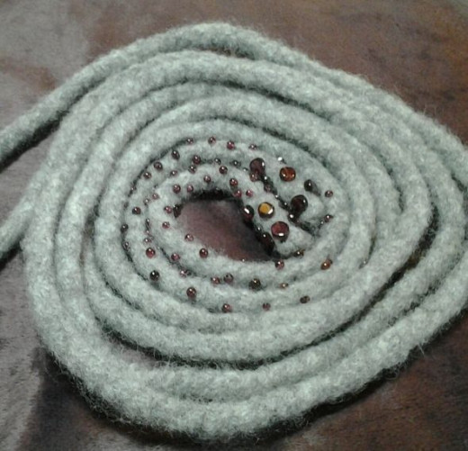 Here is a completed i-cord Long Necklace.