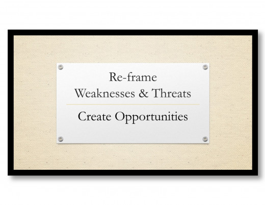 Re-framing the threats and weaknesses of an organization into an opportunity changes the conversation and creates new potential.