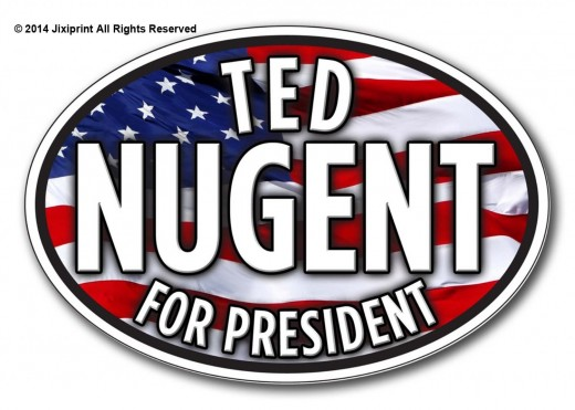 """Ted Nugent for President Oval Bumper Sticker Guns 5"""" X 3"""" by PREMIUM STICKERS"""