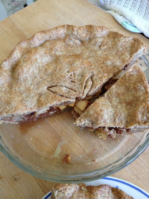 Deep dish apple pie in whole wheat pastry shell