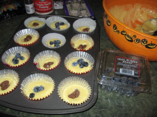 These are loaded.  Each one has a chocolate or blueberry surprise inside.