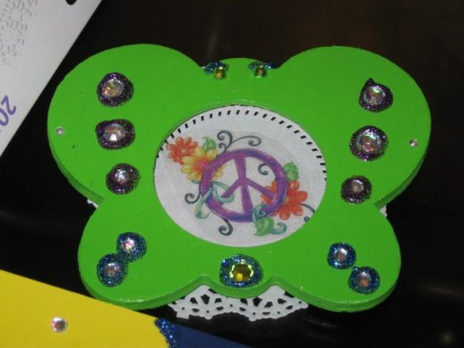 Sparkle picture frame butterfly peace sign project in work
