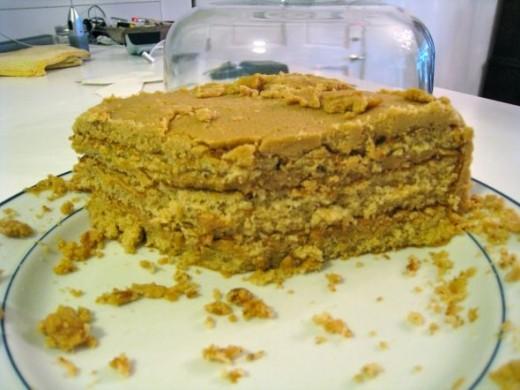sliced peanut butter cake