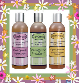 Try out the aromatherapy organic shower gels in Peppermint, Lavender and Ginger Citrus!
