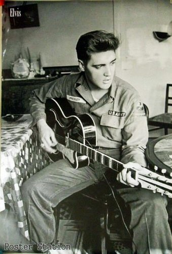 "Elvis Presley ""Army Uniform"" Black/ White Poster - Rare New - Image Print Photo"