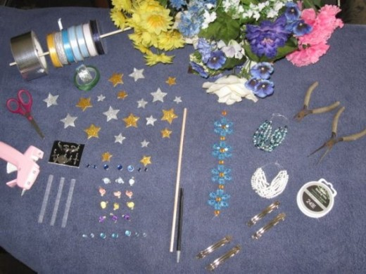Lay out the supplies for the pen and barrettes