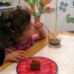 My daughter, age 3, enjoying her morning smoothie