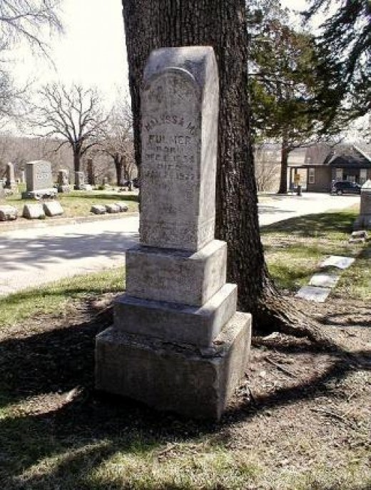 Stone marking the grave of Malyssa M. FULMER, born 6 Dec 1854 in Pennsylvania; died 26 January 1927, Topeka KS.