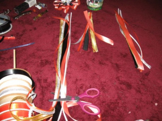 The three different sizes of ribbons used laid out.