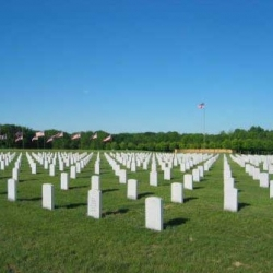 Gravestones in perfect lines at the Abraham Lincoln National Cemetery.