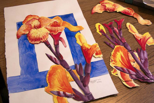 Photo of the Canna Queen watercolor painting and others already cut and numbered.