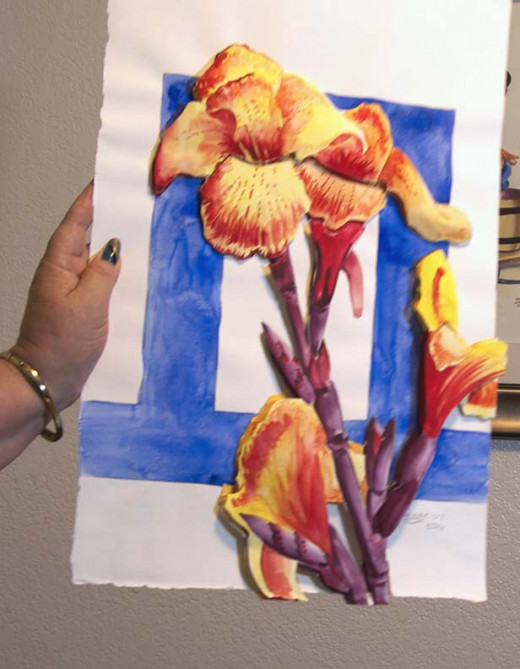 My finished three-dimensional collaged watercolor called Canna Queen.