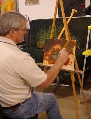 An artist friend working on a still life set-up.