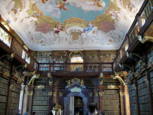 This is the library in Stift Melk which is a famous Austrian monastery.