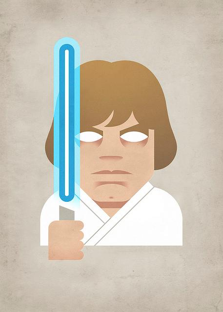 A striking drawing of Luke Skywalker.