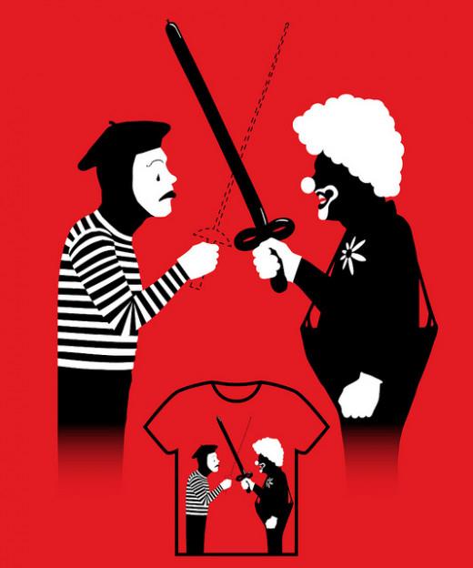'Clown War' graphics.