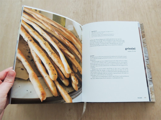 This photo shows a page about grissini, and you can see the quality of the photos here. This is the layout that is used for the majority of recipes.