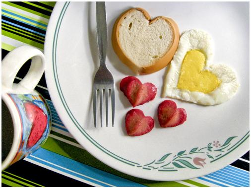 You can make so many foods heart-shaped, from pancakes and eggs to fruit and toast.