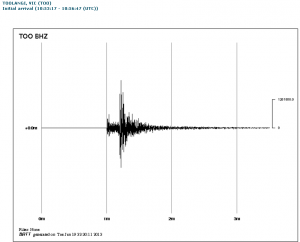 Seismograph of the Melbourne 5.3 temblor.