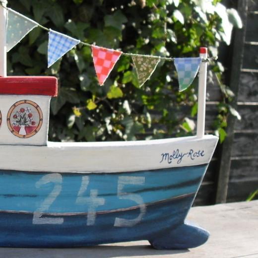 Custom-made wooden boats.