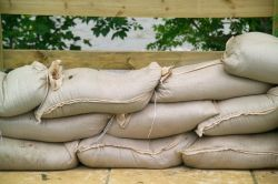 sandbags help to keep floodwaters out