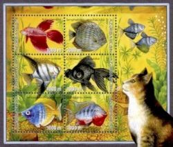 Cat and fish on stamps