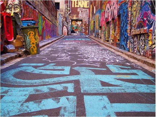 Graffiti covered Rutledge Lane in Melbourne, Australia.