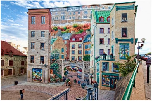 Trompe-l'oeil is an art technique involving extremely realistic imagery which creates the optical illusion that the depicted objects really exist. This particularly amazing example is 100 square metres and is located at 102 rue du Petit-Champlain, Qu