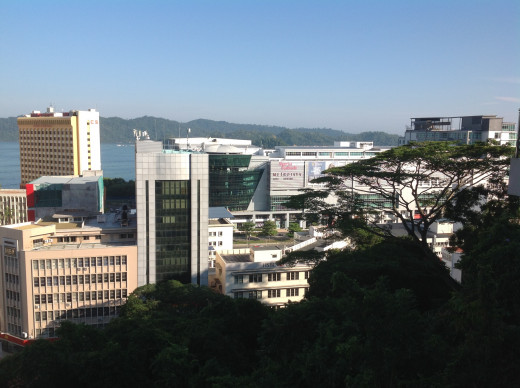 Photo featuring the city centre of Kota Kinabalu, taken from an observation tower.