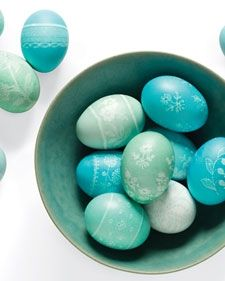 Decorate eggs with lace. Source: MarthaStewart.com. See link below for directions.
