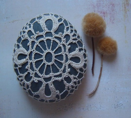 Lace stone made by Monicaj. For sale on Etsy. See link below for her lovely lacework on stones.