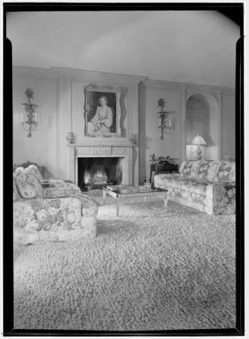 Pickfair Living Room, 1943. Note the portrait of Mary over the fireplace.