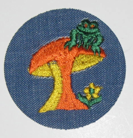 Mushroom, frog, and daisy on denim patch. All cool signs of the seventies, man.