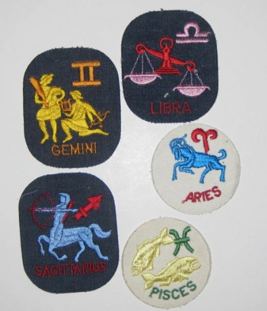 What's your sign? Zodiac sign sew on patches. Aries, Pisces, Gemini, Libra, Saggitarius.