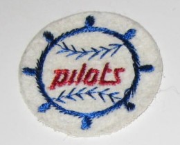 Pilots baseball team sew on patch. The Pilots inside a ship wheel, a patch for the Seattle Pilots, an expansion team from 1969 that moved to Milwaukee in 1970 as the Brewers.
